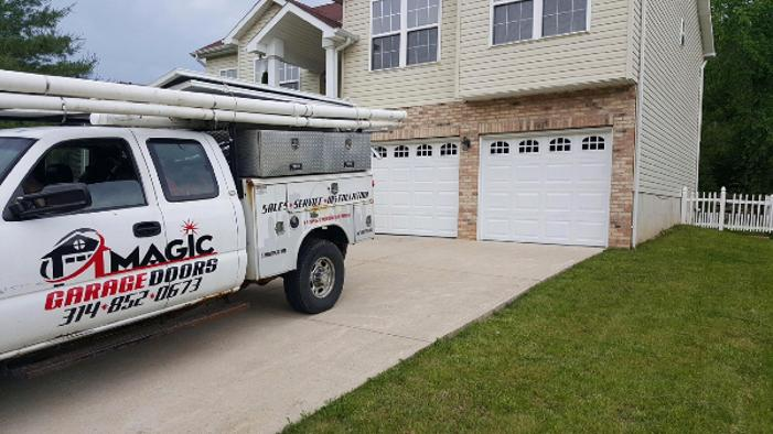 magic garage door truck at job